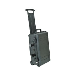Rigid suitcase with wheels, ideal for photo and video cameras