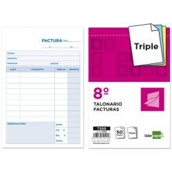 Talonario liderpapel facturas 8º original y 2 copias t300 con