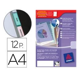 Separador avery de plastico con 12 pestañas personalizable
