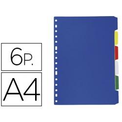 Separador liderpapel plastico juego de 6 separadores folio 16