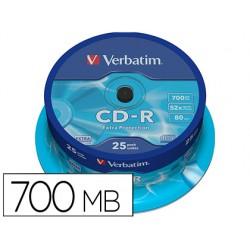 Cd-r verbatim capacidad 700mb velocidad 52x 80 min tarrina de