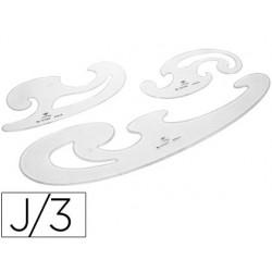 Plantillas curvas d.f. cristal -juego de 3 6184-100024