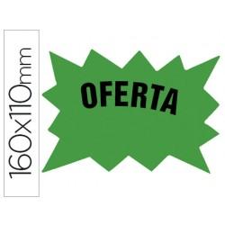 Cartel cartulina etiquetas marcaprecios verde fluorescente