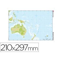 Mapa mudo color din a4 oceania -fisico 24599-612