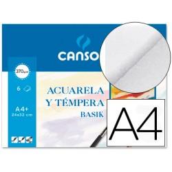 Papel acuarela basik canson din a4 370 gr pack de 6 hojas 24 x
