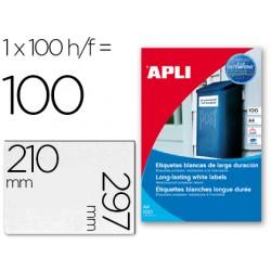 Etiquetas adhesivas apli 12121 tamaño 210x297 mm poliester