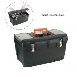 Caja de herramientas grande de plástico con cierres metálicos