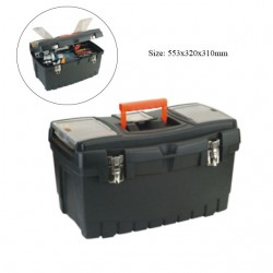 Large plastic toolbox with metal closures 553 x 320 x 310