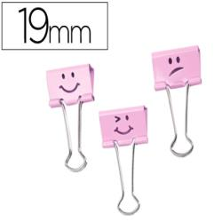 Pinza metalica rapesco reversible 19 mm emojis rosa cajita de
