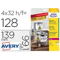 Etiqueta adhesiva avery poliester blanco 99,1x139 mm para