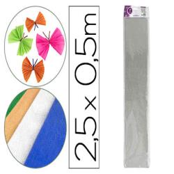 Papel crespon liderpapel 50 cm x 2.5m metalizado plata