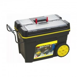 Tool chest with metal clasps and telescopic handle, 62 x 37 x
