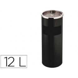 Cenicero papelera metalico q-connect negro -61,5x25 cm con