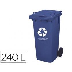 Papelera contenedor q-connect plastico con tapadera 240l color