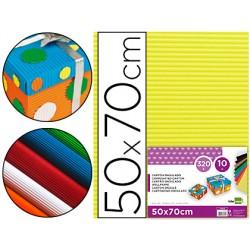 Carton ondulado liderpapel 50 x 70cm 320g/m2 amarillo 37641-CN07