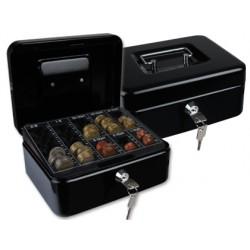 "Caja caudales q-connect 8"" 200x160x90 mm negra con portamonedas"