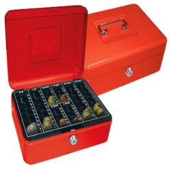 "Caja caudales q-connect 10"" 250x180x90 mm roja con portamonedas"