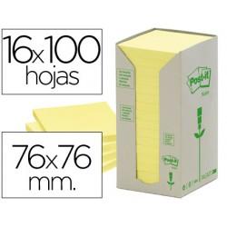 Bloc de notas adhesivas quita y pon recicladas en torre post-it