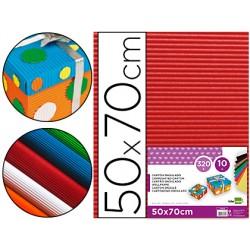 Carton ondulado liderpapel 50 x 70cm 320g/m2 rojo 37636-CN02