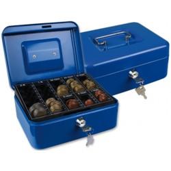 "Caja caudales q-connect 8"" 200x160x90 mm azul con portamonedas"