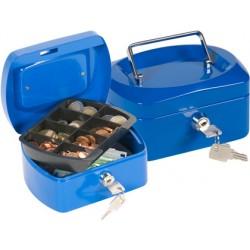 "Caja caudales q-connect 6"" 152x115x80 mm azul con portamonedas"