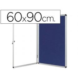 Vitrina de anuncios q-connect mural pequeña fieltro azul con