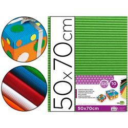 Carton ondulado liderpapel 50 x 70cm 320g/m2 verde hoja