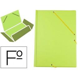Carpeta liderpapel gomas plastico folio solapa color verde