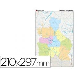 Mapa mudo color din a4 castilla-la mancha politico 79430-7227-8