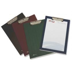 Portanotas pardo carton forrado pvc folio con pinza metalica