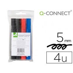 Rotulador q-connect marcador permanente estuche de 4 colores