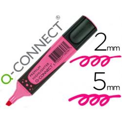 Rotulador q-connect fluorescente rosa premium punta biselada