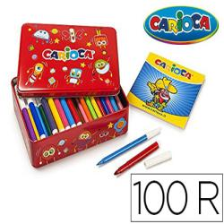 Rotulador carioca color kit caja metalica de 100 unidades