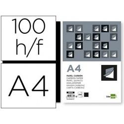 Papel carbon liderpapel film negro tamaño din a4 caja de 100