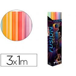 Papel kraft rollo 3x1 mt expositor fusion con 24 rollos colores