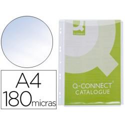 Funda multitaladro q-connect con fuelle din a4 pvc 180 micras -