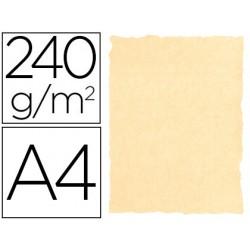 Papel color liderpapel pergamino con bordes a4 240g/m2 crema