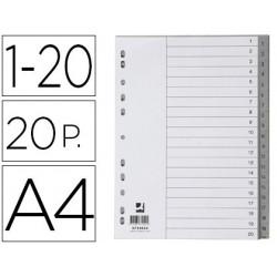 Separador numerico q-connect plastico 1-20 juego de 20