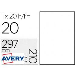 Etiqueta adhesiva avery poliester blanca 210 x 297 mm laser