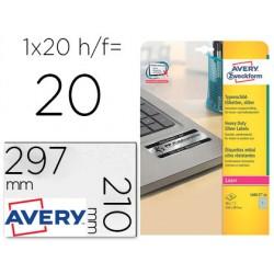 Etiqueta adhesiva avery poliester plata 210x297 mm para