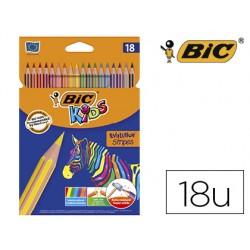 Lapices de colores bic evolution stripes caja de 18 colores