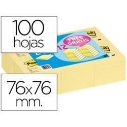 Bloc de notas adhesivas quita y pon post-it 76x76mm -pack