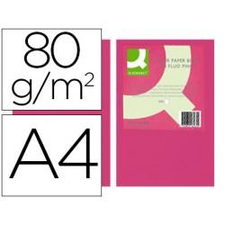 Papel color q-connect din a4 80gr rosa neon paquete de 500 hojas