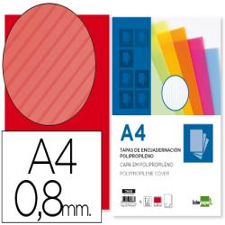 Tapa encuadernacion liderpapel polipropileno ondulado a4 0.8 mm rojo paquete de 50 unidades
