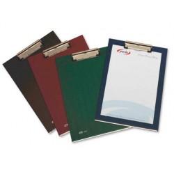 Portanotas pardo carton forrado pvc folio con pinza metalica burdeos