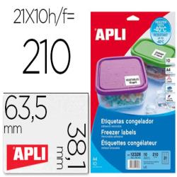 Etiqueta adhesiva apli 12328 tamaño 63,5x38,1 mm para congelados caja con 10 hojas a4 blancas directiva europea