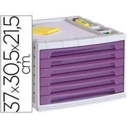 Fichero cajones de sobremesa q-connect 37x30,5x21,5 cm bandeja organizadora superior 6 cajones violeta translucido