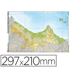 Mapa mudo color din a4 comunidad valenciana fisico
