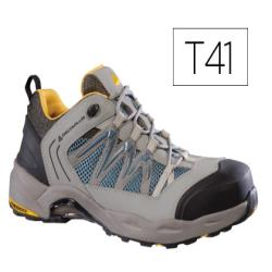 Zapatos de seguridad deltaplus trek de piel serraje puntera y suela composite gris talla 41