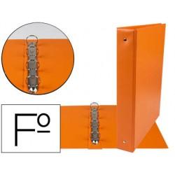 Carpeta liderpapel 4 anillas 40 mm redondas plastico folio color naranja